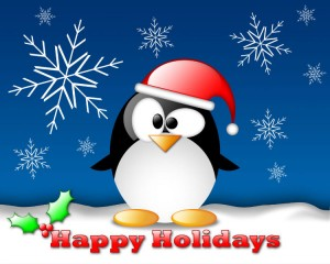 Cartoon penguin with Christmas hat
