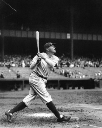 Black and white image of a baseball player Babe Ruth