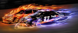 An artistic image with two racing cars
