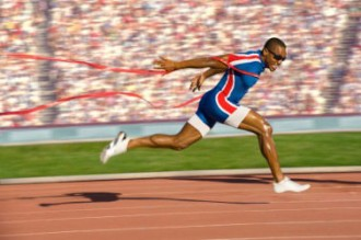 A running athlete finish off the track